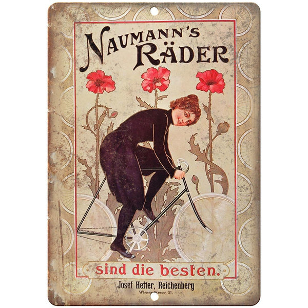 "Naumann's Rader Bicycle Vintage Ad 10"" x 7"" Reproduction Metal Sign B351"