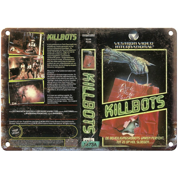 "Killbots Vestron Video International VHS 10"" X 7"" Reproduction Metal Sign V25"
