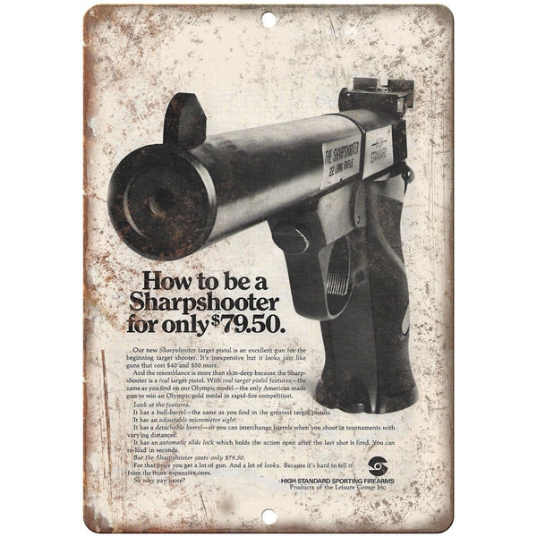 "High Standard Firearms Sharpshooter Target Pistol Ad 10"" x 7"" Retro Metal Sign"