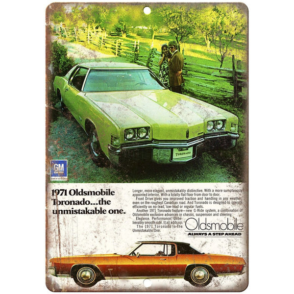 "1971 Oldsmobile Tornado Car Ad 10"" x 7"" Reproduction Metal Sign"