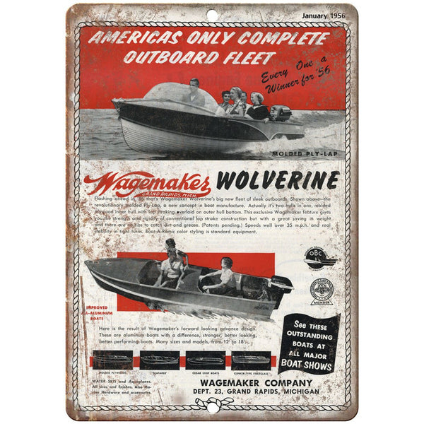 "Wagemakes Wolverine Boat January 1952 Ad 10"" x 7"" Reproduction Metal Sign L19"