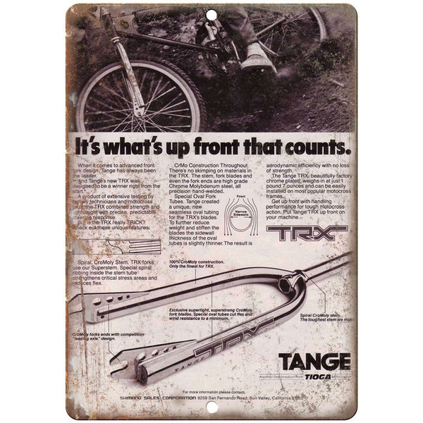"1981 Tange BMX Forks 10"" x 7"" retro metal sign"
