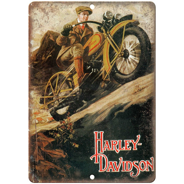 "Harley Davidson Motorcycle 1900's Poster Ad 10"" X 7"" Reproduction Metal Sign F36"