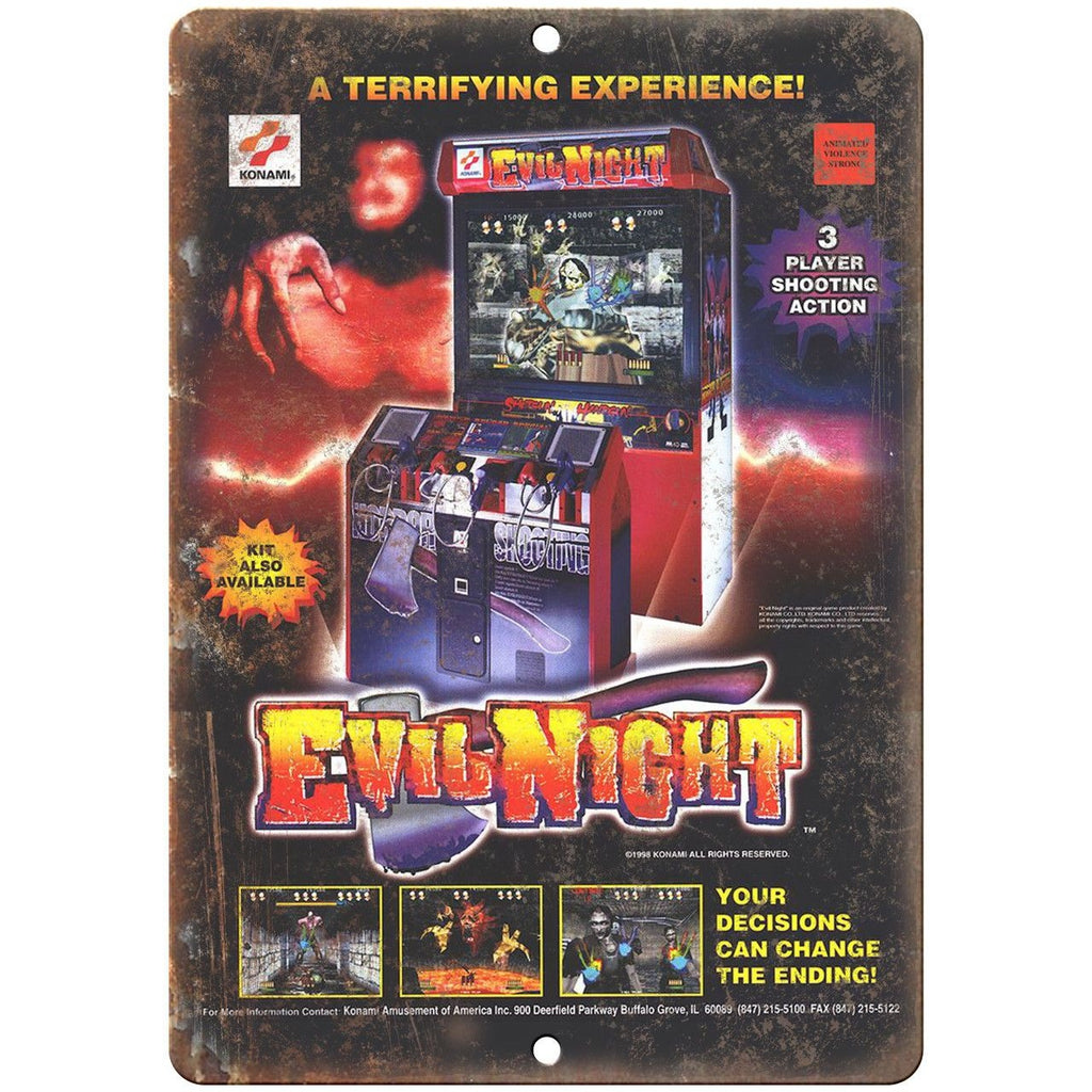 "Evil Night Konami Arcade Game Vintage Ad 10"" x 7"" Reproduction Metal Sign D72"