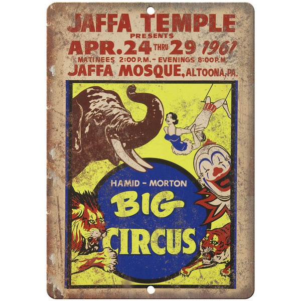 "Big Circus Hamid Morton Vintage Poster 10"" X 7"" Reproduction Metal Sign ZH157"