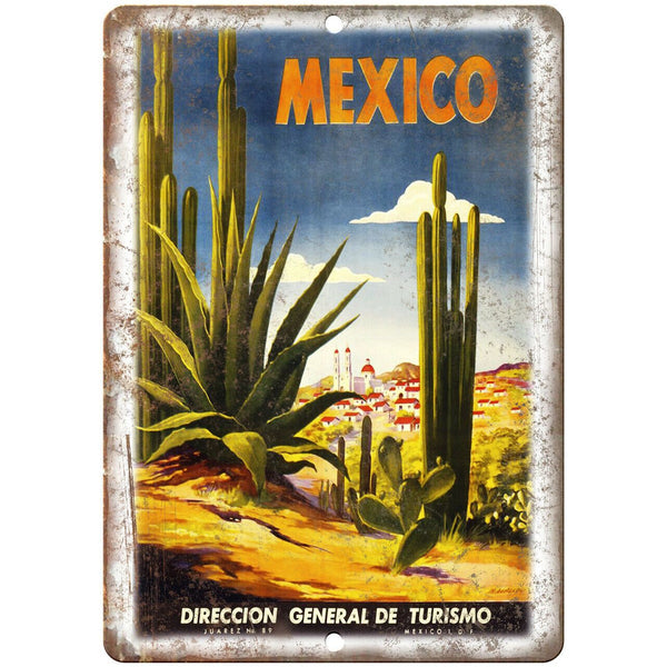 "Mexico Vintage Travel Poster Art 10"" x 7"" Reproduction Metal Sign T65"