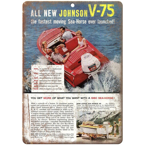 "Johnson Sea Horses Outboard Motor V-75 Boating 10"" x 7"" Reproduction Metal Sign"