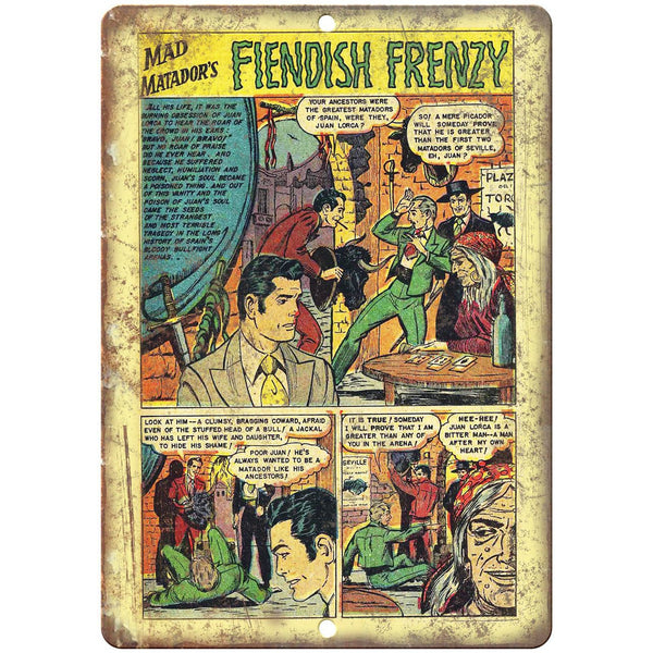 "Fiendish Frenzy Comic Book Strip Ad 10"" x 7"" Reproduction Metal Sign J521"