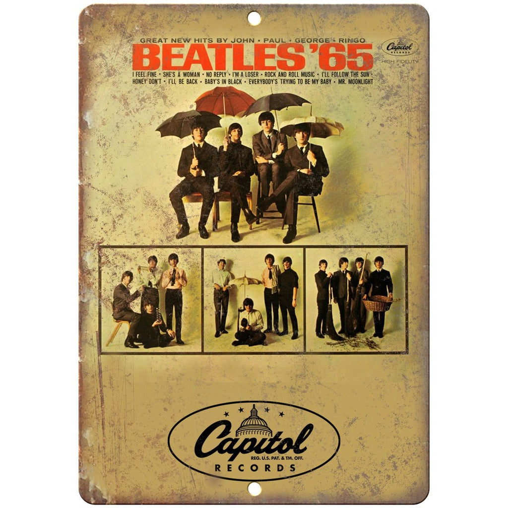 "1965 The Beatles Capitol Records Album Cover 10"" x 7"" Reproduction Metal Sign"