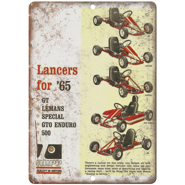 "1965 Lancers RUPP Go Kart Vintage Ad 10"" x 7"" Reproduction Metal Sign A342"