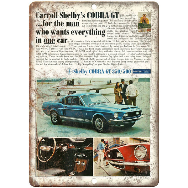 "Ford Shelby Cobra GT 350/500 Retro Ad 10"" x 7"" Reproduction Metal Sign"