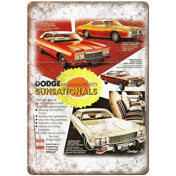 "1973 Dodge Charger Dodge Dart Vintage Ad 10"" x 7"" Reproduction Metal Sign"