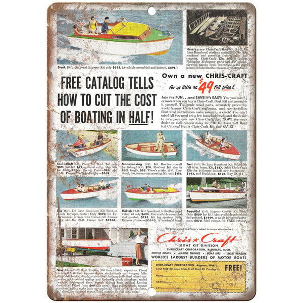 "Chris Craft Boat Vintage Ad 10"" x 7"" Reproduction Metal Sign L49"