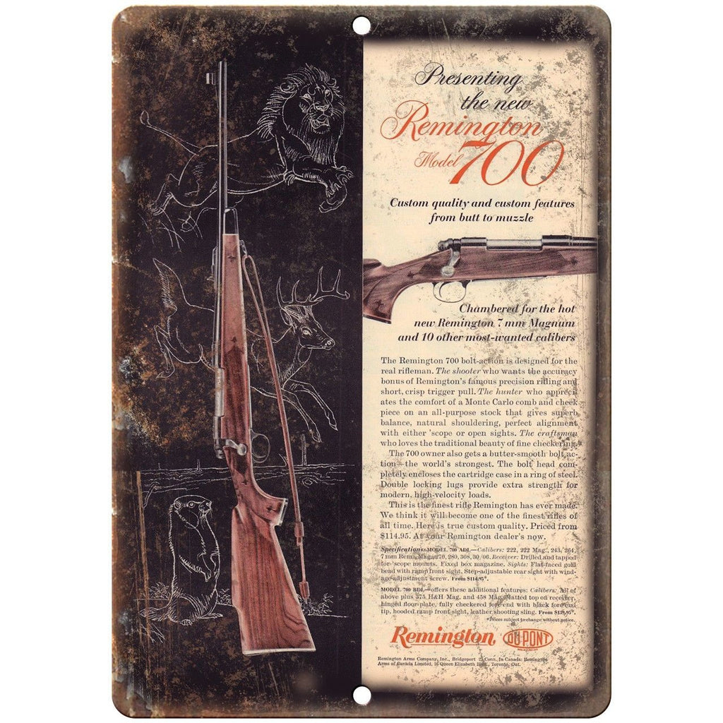 "Remington 700 Center Fire Bolt Action Rifle Vintage Ad 10"" x 7"" Metal Sign"
