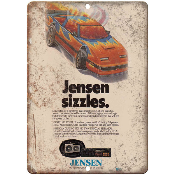 "Jensen Car Stereo Vintage RARE ad 10"" x 7"" Reproduction Metal Sign"