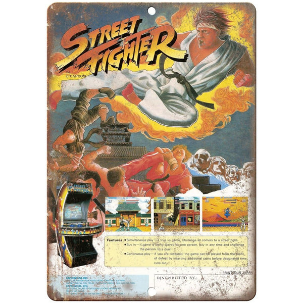 "Capcom Street Fighter Arcade Game Ad 10"" x 7"" Reproduction Metal Sign G08"