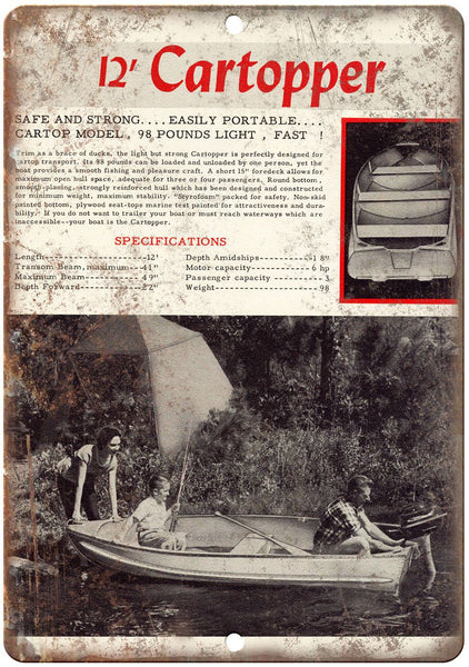 "12' Cartopper Vintage Boat Ad 10"" x 7"" Reproduction Metal Sign L09"