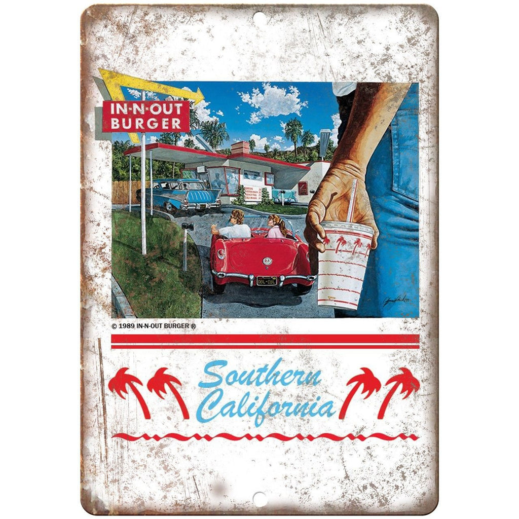 "In-N-Out Burger California Drive-In Ad 10"" x 7"" Reproduction Metal Sign N17"