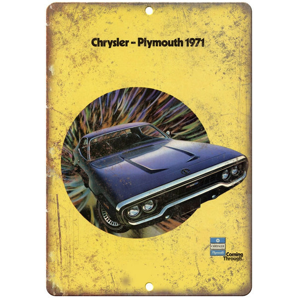 "1971 Plymouth Chrysler Car Flyer Ad 10"" x 7"" Reproduction Metal Sign"