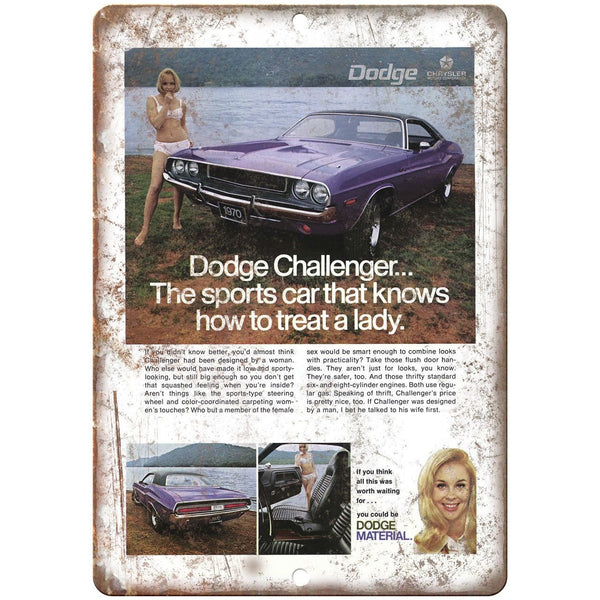 "1970 Dodge Challenger Vintage Ad 10"" x 7"" Reproduction Metal Sign A238"