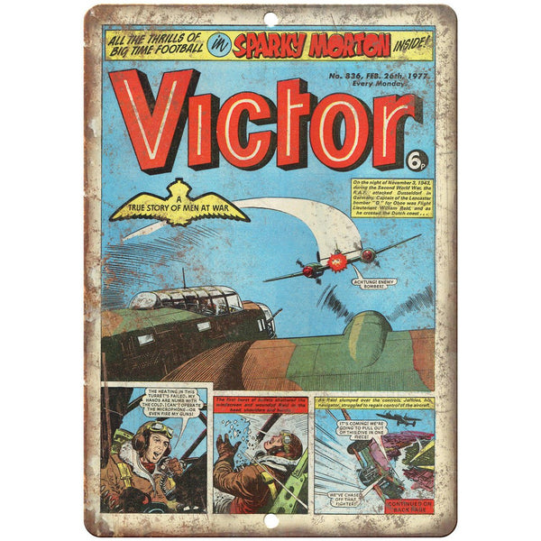 "Victor No 836 Comic Book Cover Vintage Art 10"" x 7"" Reproduction Metal Sign J646"