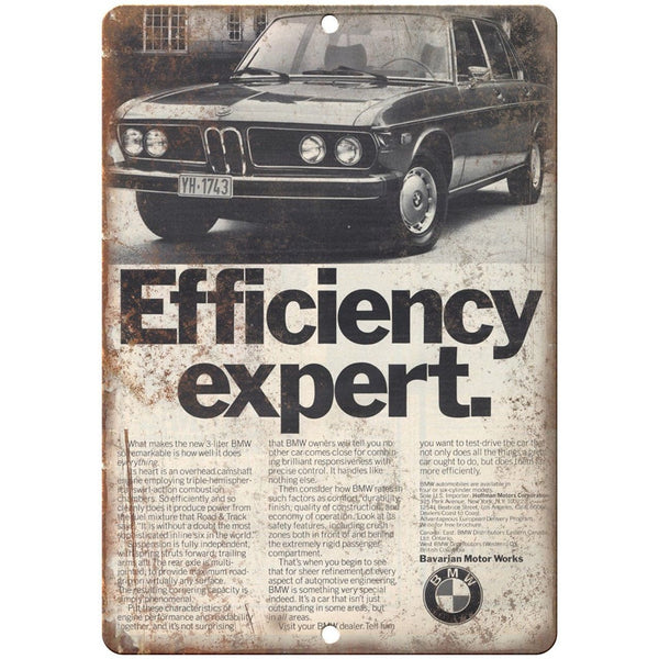 "BMW Efficiency Expert Bavarian Motor Works 10"" x 7"" Reproduction Metal Sign A109"