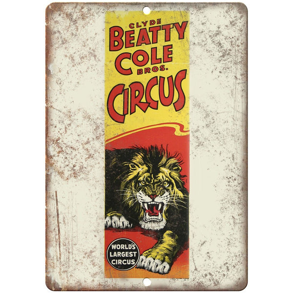 "Beatty Cole Bros Circus Poster Ad 10"" X 7"" Reproduction Metal Sign ZH71"