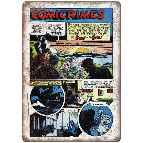 "Penalty! Comicrimes Vitage Comic Strip 10"" X 7"" Reproduction Metal Sign J356"