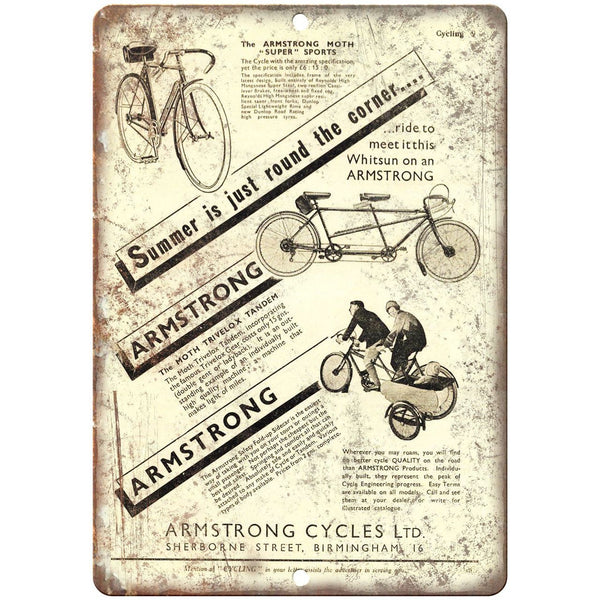 "Armstrong Cycles Ltd. Bicycles Vintage Ad 10"" x 7"" Reproduction Metal Sign B403"