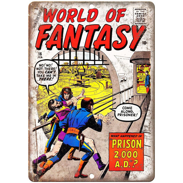 "World Of Fantasy Comic Book Cover Vintage 10"" x 7"" Reproduction Metal Sign J680"