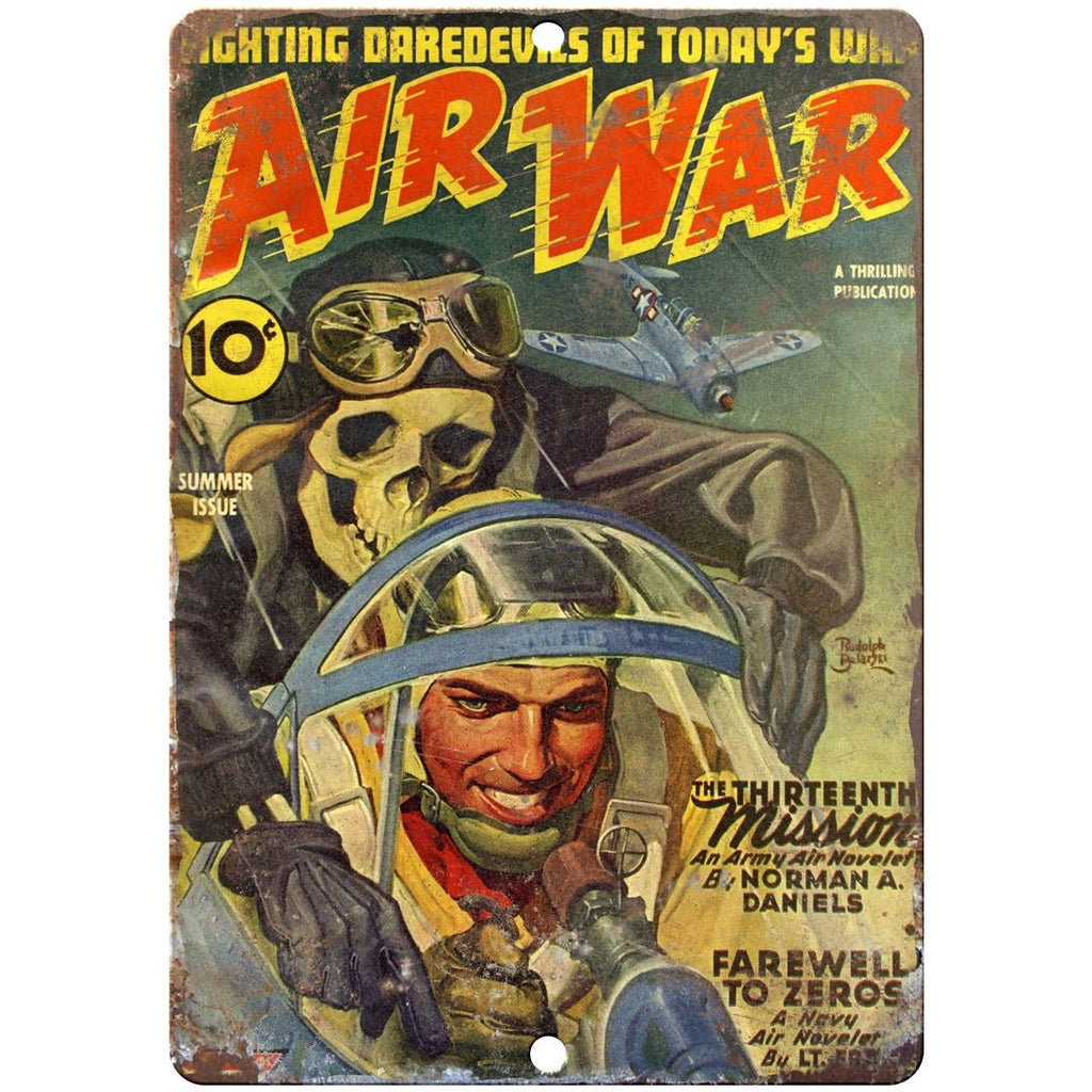 "Pulp Magazine Air War 10"" x 7"" reproduction metal sign"
