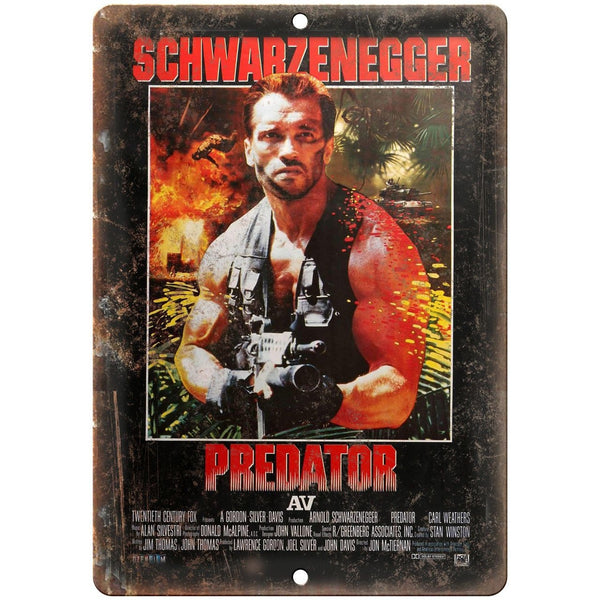 "Predator Arnold Schwarzenegger Movie Poster 10"" x 7"" Retro Look Metal Sign"