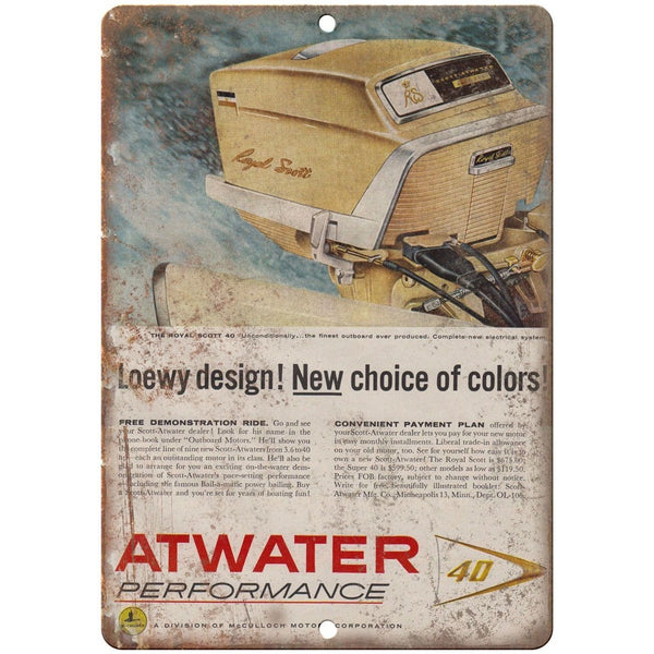 "10"" x 7"" metal sign - Atwater Outboards - Vintage Look Reproduction"