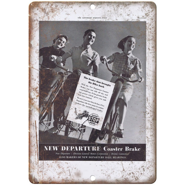 "1937 Departure Coaster Bicycle Brake Ad - 10"" x 7"" Retro Look Metal Sign"