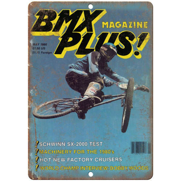 "10"" x 7"" Metal Sign 1980 BMX Plus Magazine, Freestyle Vintage Reproduction B103"