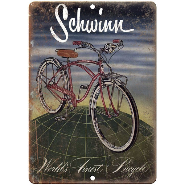 "1955 - Schwinn Worlds Finest Bicycles Ad - 10"" x 7"" Retro Look Metal Sign"