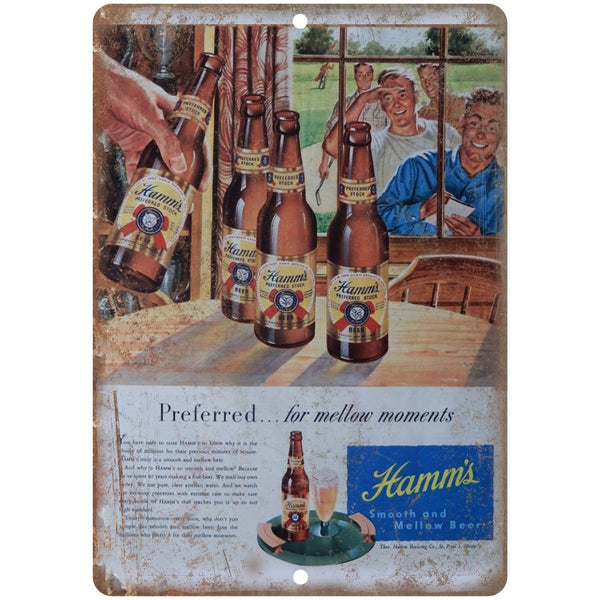 "10"" x 7"" Metal Sign - Hamm's Beer Mellow Moments Ad - Vintage Look Reproduction"
