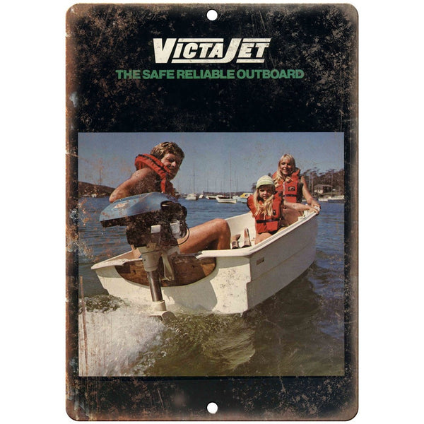 "Victa Jet Outboard Motor Vintage Boating Ad 10"" x 7"" Reproduction Metal Sign"