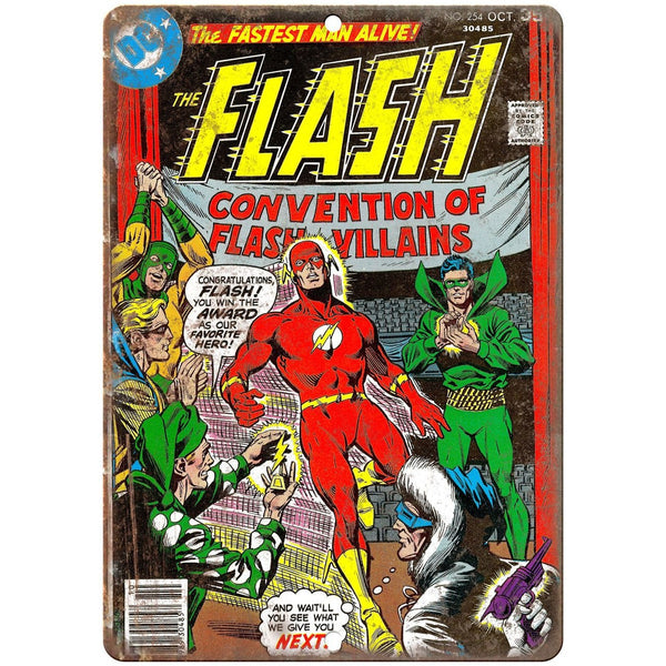 "Vintage Comic Flash #254 DC Comics 10"" x 7"" Retro Look metal sign"