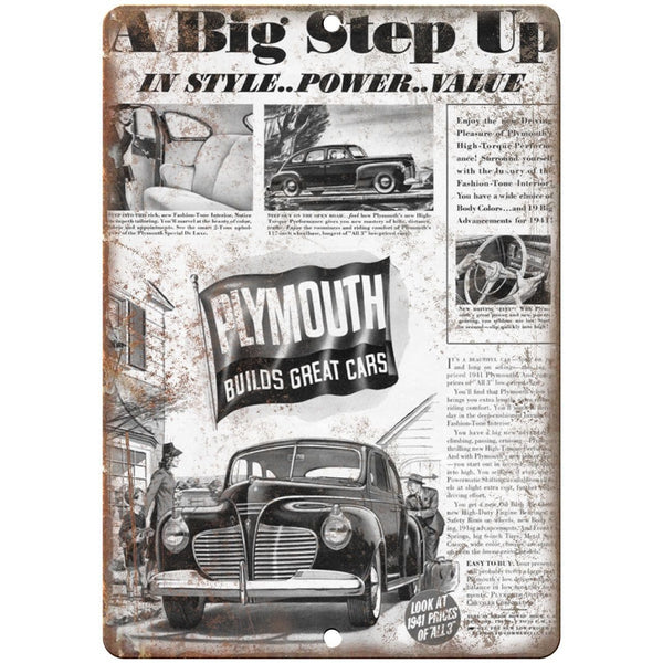 "1941 - Plymouth Vintage ad 10"" x 7"" Reproduction Metal Sign"
