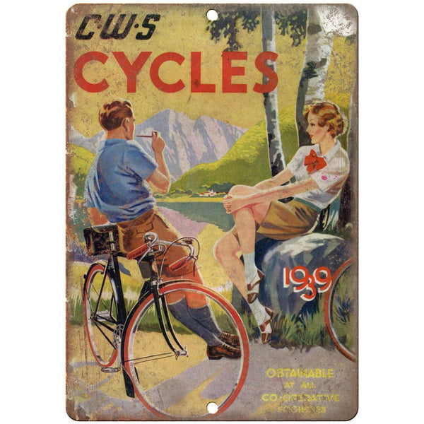 "1939 CWS Cycles Bicycle Ad 10"" x 7"" Reproduction Metal Sign B202"