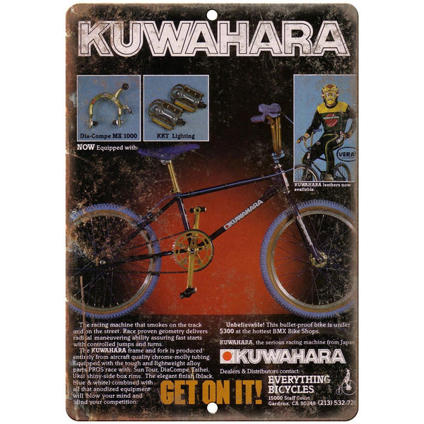 "BMX Kuwahara 10"" x 7"" reproduction metal sign"