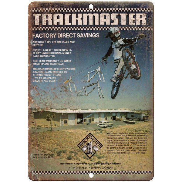 "1982 Trackmaster BMX RARE ad 10"" x 7"" retro metal sign"