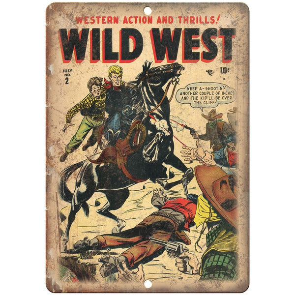 "Western Action Wild West Vintage Comic 10"" X 7"" Reproduction Metal Sign J220"