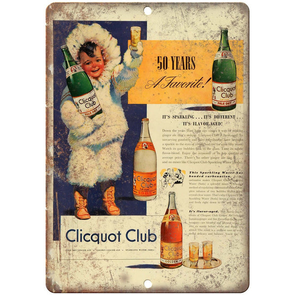 "Clicquot Club Vintage Soda Ad 10"" X 7"" Reproduction Metal Sign N276"