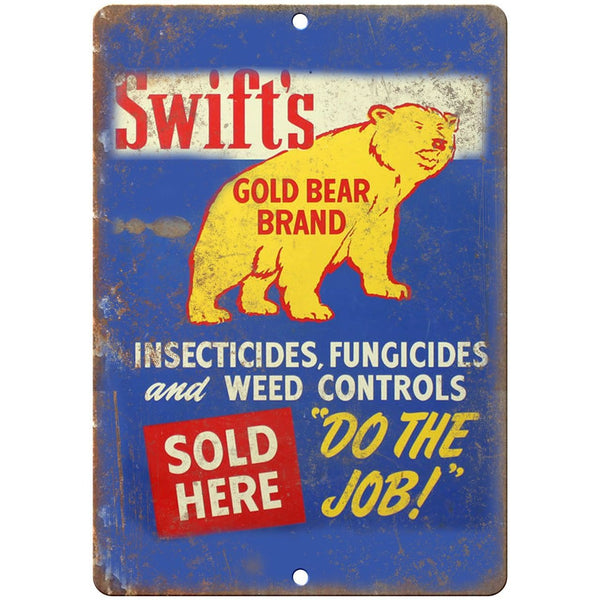 "Porcelain Look Swifts Gold Bear Brand Insecticide 10"" x 7"" Retro Look Metal Sign"