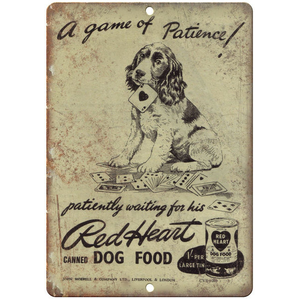 "Red Heart Dog Food Vintage Ad 10"" X 7"" Reproduction Metal Sign N354"