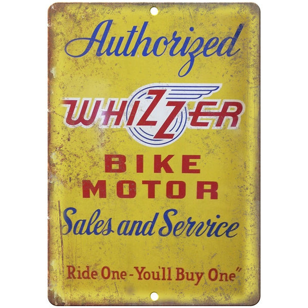 "Whizzer Bicycle Motor Vintage Dealer Sign 10"" x 7"" Reproduction Metal Sign B280"