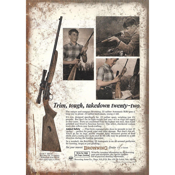 "Browning .22 Automatic Rifle Vintage Ad 10"" x 7"" Reproduction Metal Sign"