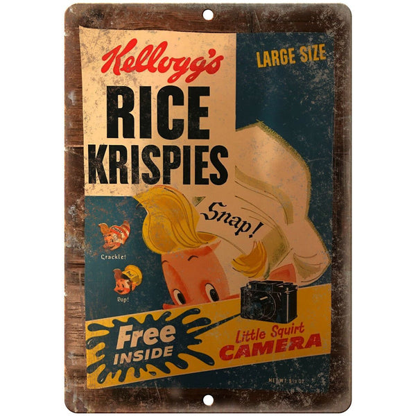 "Kelloggs Rice Krispies Squirt Camera Box 10"" X 7"" Reproduction Metal Sign N375"
